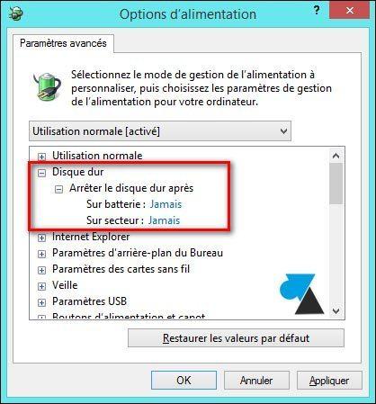 Empêcher le SSD ou l'ordinateur de s'éteindre pour cause d'inactivité