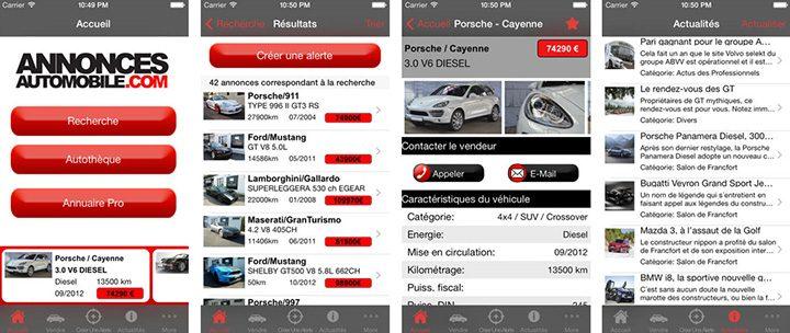Application iPhone Annonces Automobile