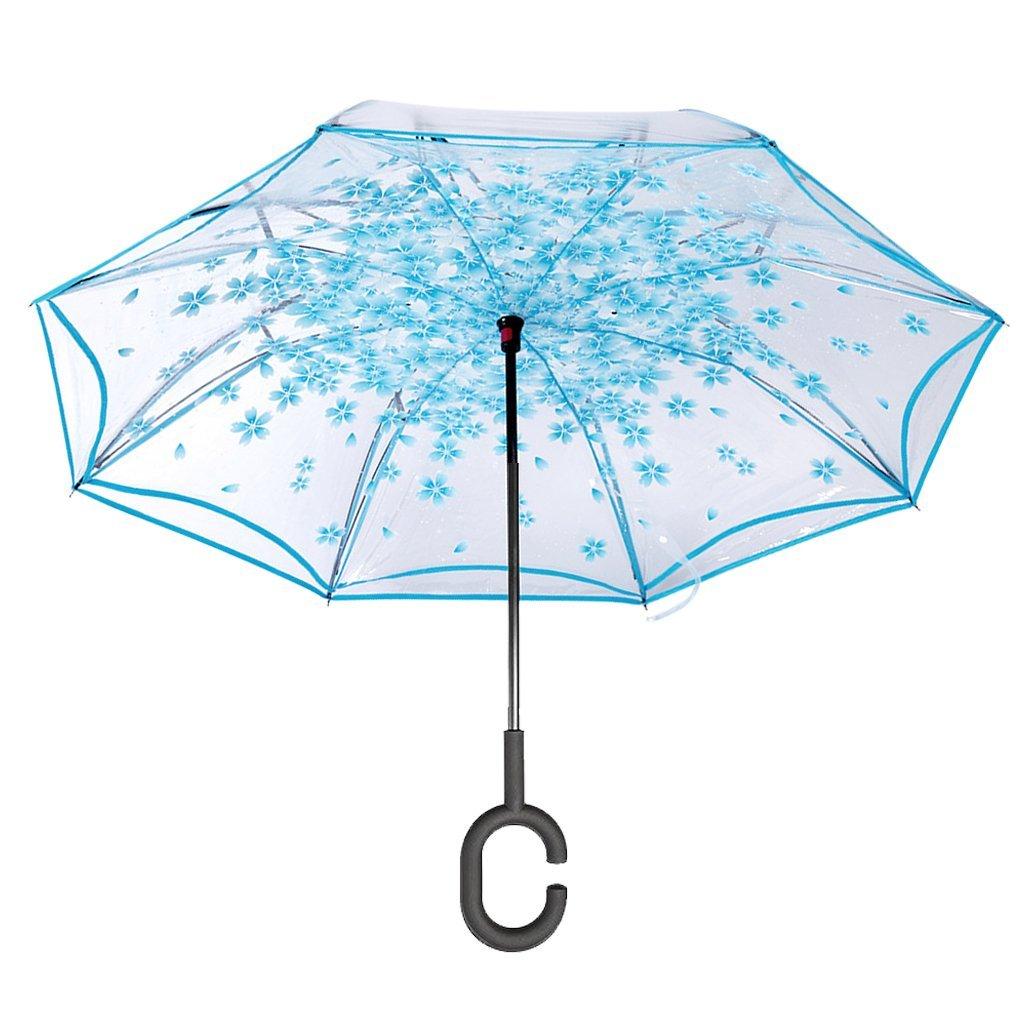 Le parapluie inversé bleu transparent, pour avoir la tête dans les nuages
